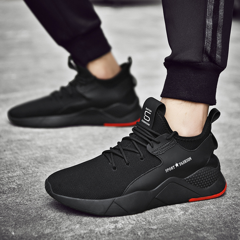 Black Shoes Men Sneakers Low Upper 39-44 Breathable Running Jogging Male Shoes Light Lace Up Trainnng Wear Workout Sneakers Men