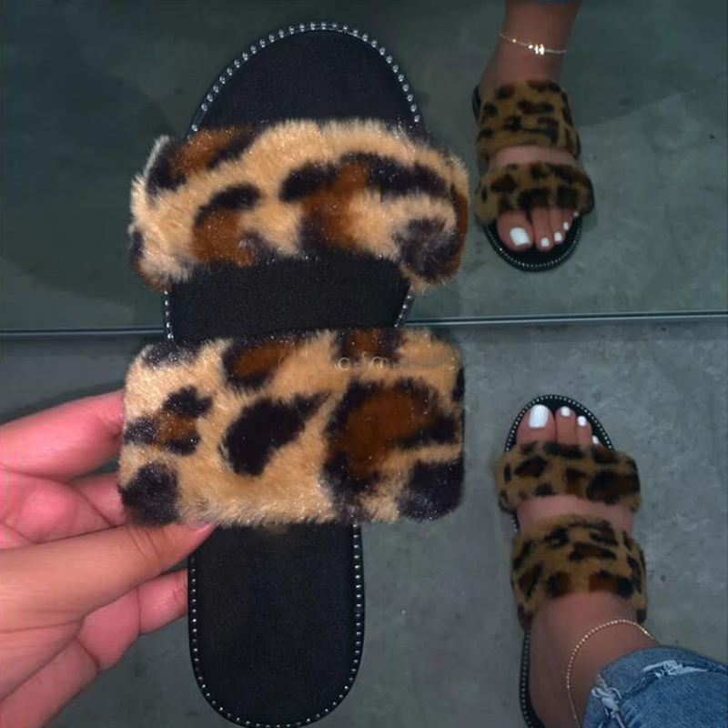 New Spring Women's Slippers Women Slip On Fur Plush Woman Outdoor Casual Comfort Female  Ladies Bling Crystal Shoes 2020