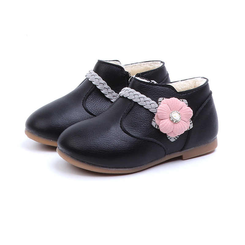 Kinder Blume Design Stiefeletten Prinzessin Geflochtene Mode Kurze Stiefel Frühling Herbst Baby Weiche PU Leder Casual Flache Kleid Sneaker