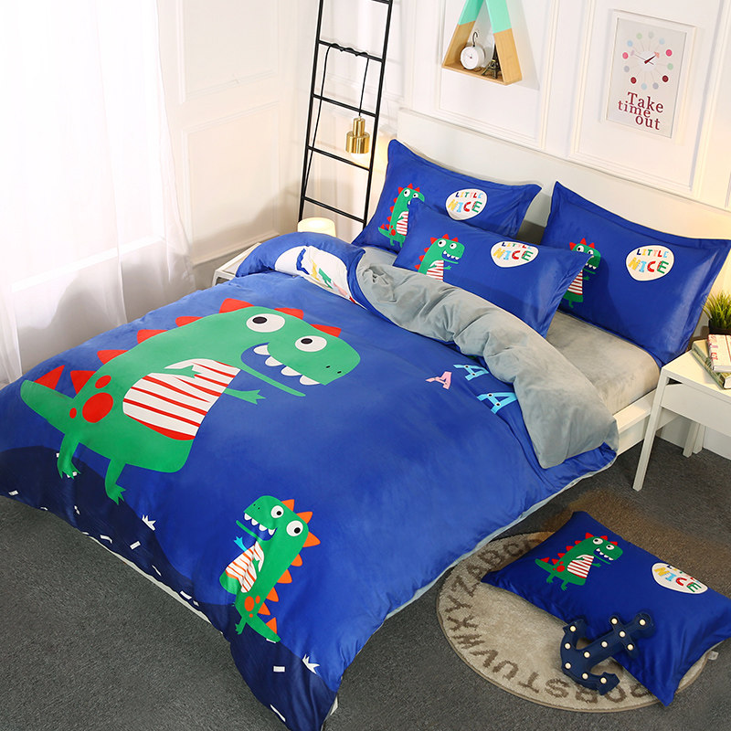 Cartoon Coral Velvet Four-piece Set Thickened and Warm Winter Flannel Bed Sheet Cover Double-sided Farley