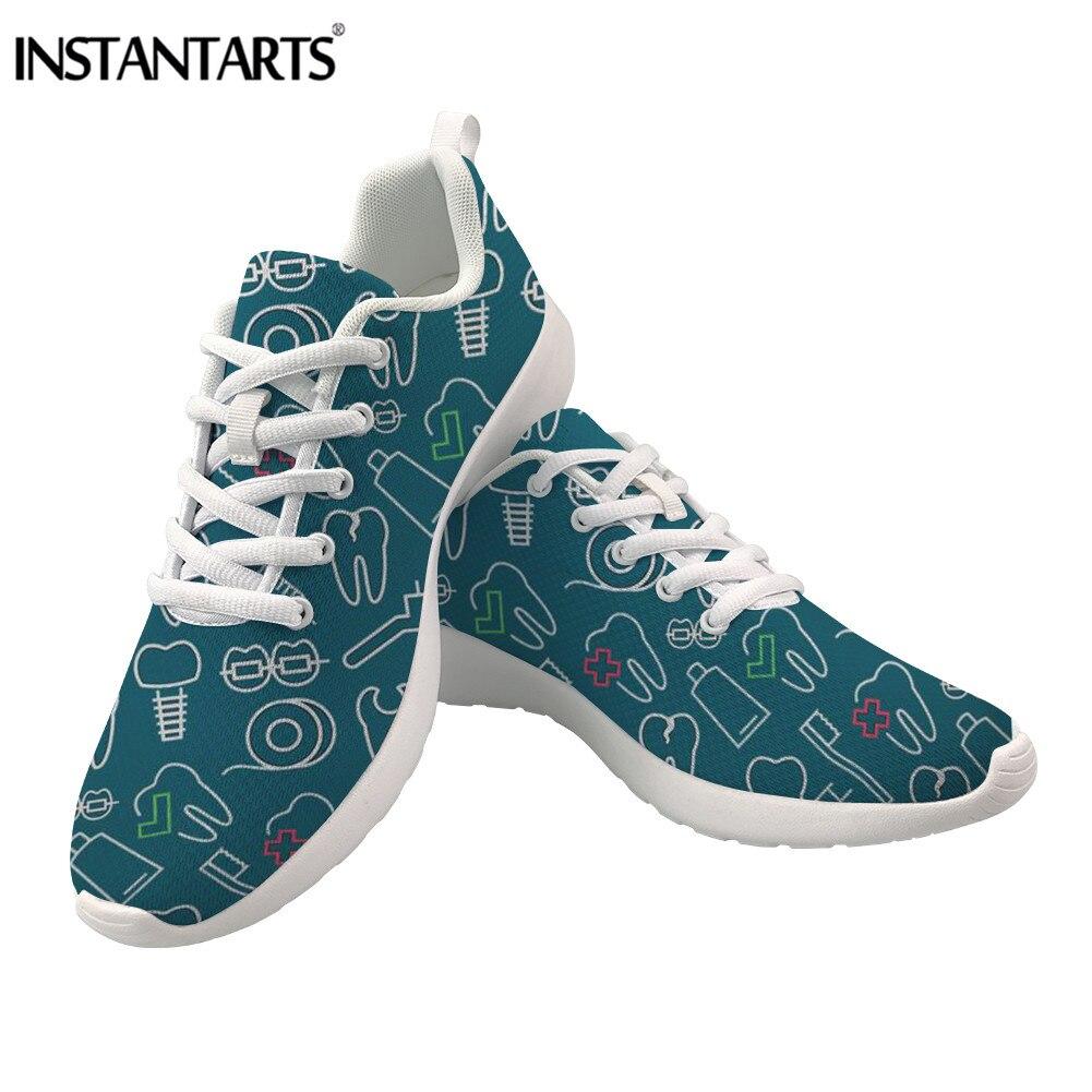 Buy INSTANTARTS Cartoon Nurse Print Casual Women Sneakers Breathable Mesh Lacing Ladies Flats Tenis Lightweight Dentist Zapatilla