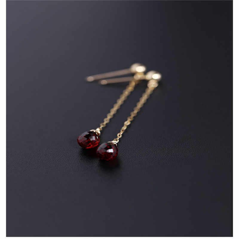 Daimiファセット水滴ガーネットイヤリング宝石女性の本 14 24kゴールドギルド赤宝石耳ラインカスタマイズ