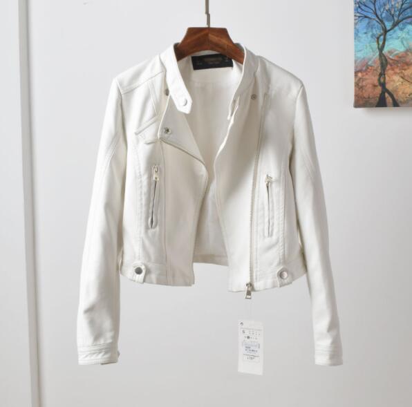 Spring And Autumn New Women's Leather Jacket Slim Female Jacket Pink Short High Waist White Female Leather Jacket