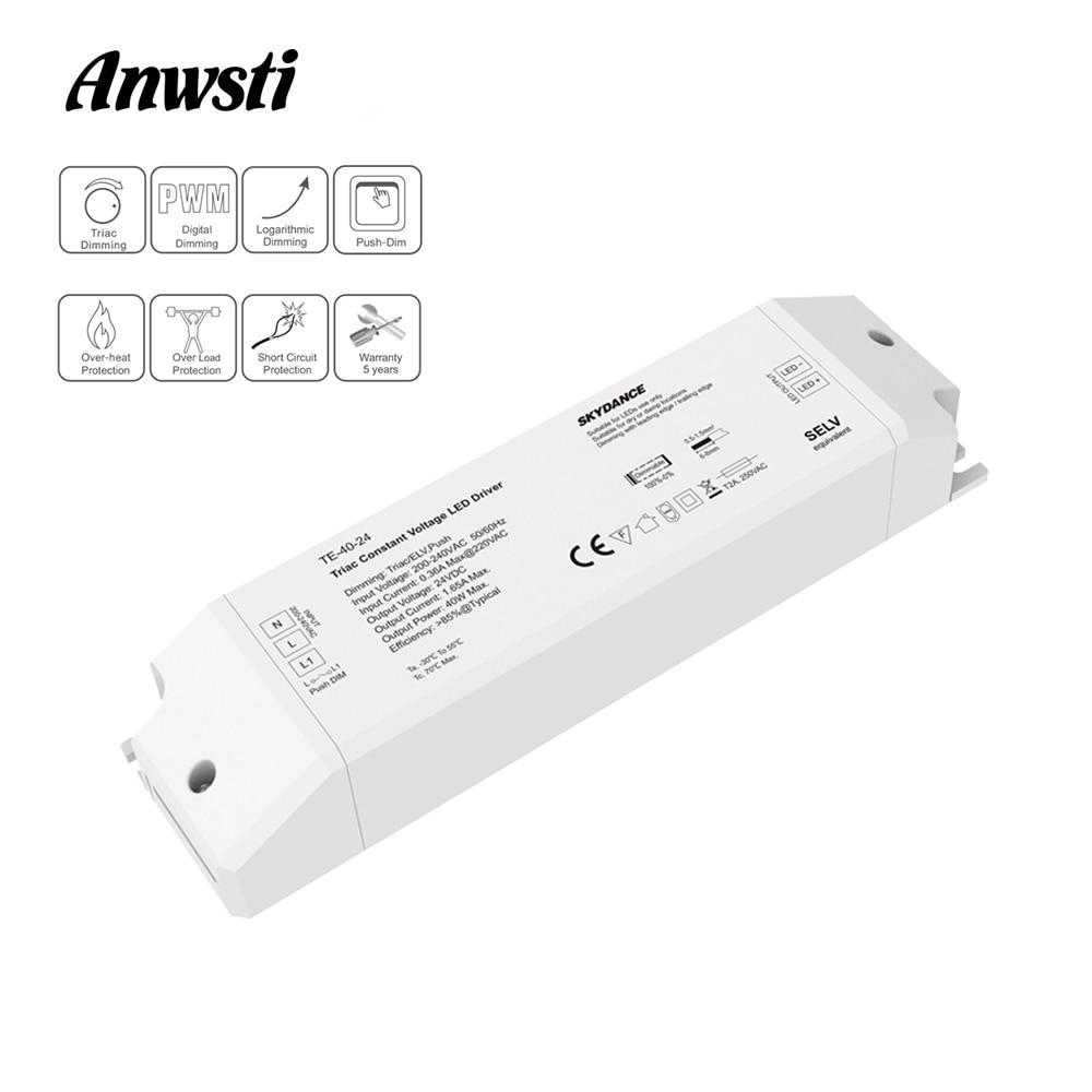Triac LED Driver Dimmable Constant Voltage 1CH 40W AC 220V To DC 12V 24V PWM Digital Dimming Triac Driver 12V For LED Light Tape