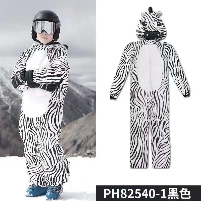 New Fashion Children Cartoon Ski Suit Splittable For Baby Thick Warm Wind-Resistant Waterproof One-Piece Ski Set Dinosaur Zebra