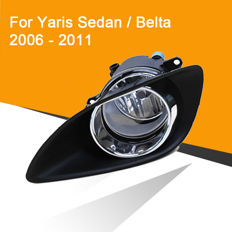 1Pair Fog Lamp Assembly With Fog Light Chrome Cover And Wire Switch Button For Toyota Yaris Sedan/Belta 2006-2011 Vios 2007-2011