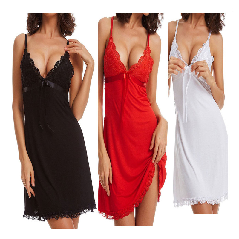 Sexy Women Slik Nightgown Stain Sleepwear Sleep Dress Deep V Neck Strappy Solid Nightwear Night Dress Female Clothes Costume