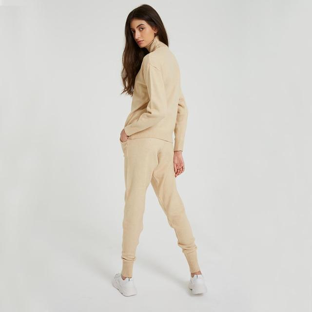 Wixra femmes pull costumes et ensembles col roulé à manches longues chandails tricotés + poches pantalons longs 2 pièces ensembles Costume d'hiver 3