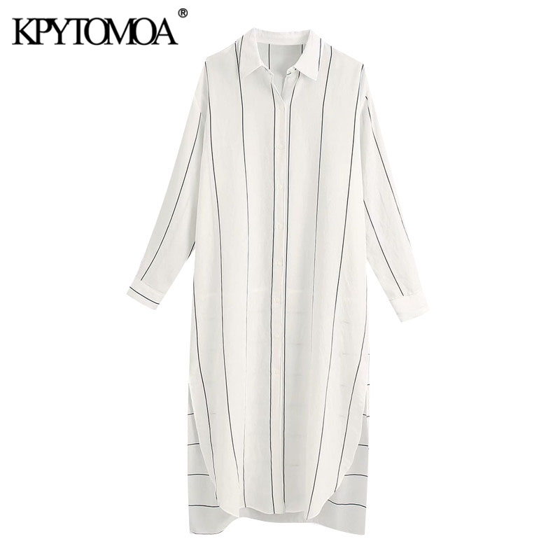 KPYTOMOA Women 2020 Chic Fashion Striped Button-up Loose Midi Shirt Dress Vintage Long Sleeve Side Vents Female Dresses Vestidos