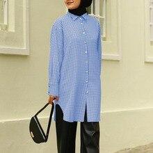 Shirts Tunic Muslim-Dubai Blouse Tops Abaya Women Morocco Casual ZANZEA Chemise Mandarin-Collar