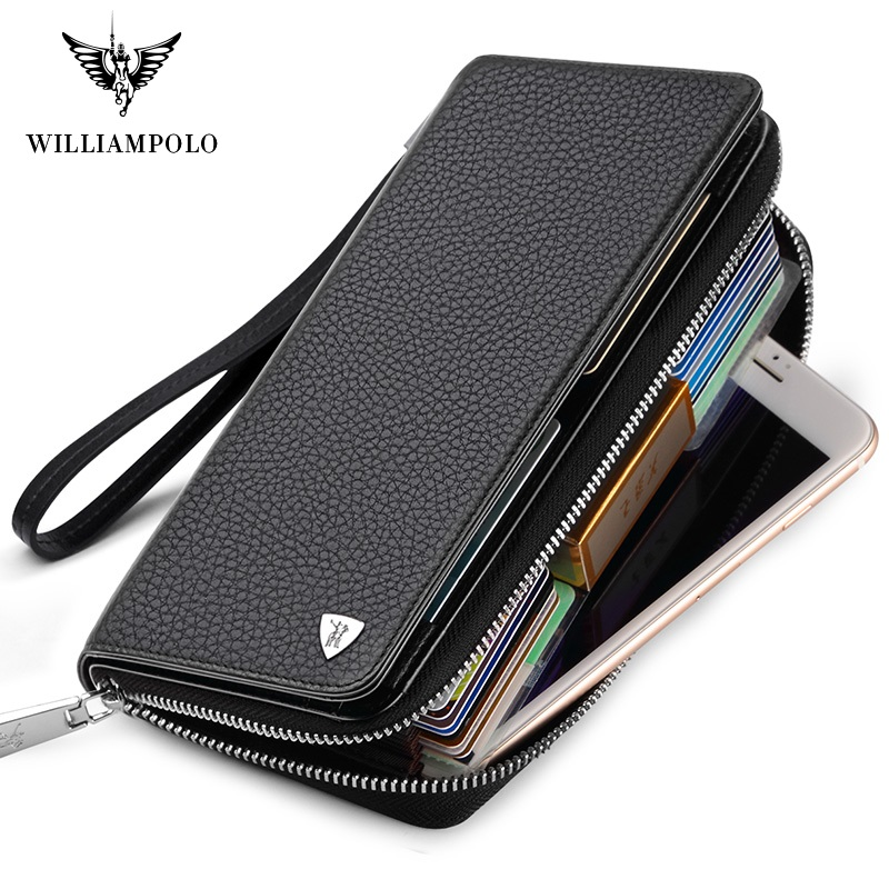 RFID Wallet For Men Cowskin Men Wallets Large Capacity Card Holder Wallet Coin Purse Genuine Leather Long Purse For Men