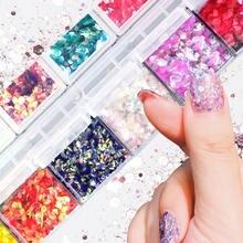 Голографические Блестки для ногтей 12 штук 1 коробка розовое