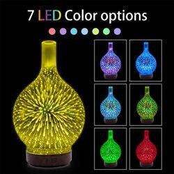 3D szkło kolorowe wazon nawilżacz domu Mini maszyna do aromaterapii noc światło nawilżacz wyciszenie Multicolor