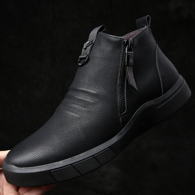 2020 Winter Men's Boots Comfortable Men Ankle Boots Thick Plush Warm Snow Boots Leather Autumn Outdoor Man Motorcycle Boots