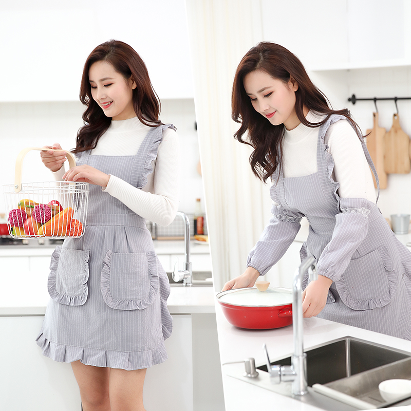 Top SaleApron Cotton Kitchen Household Double-deck Waterproof Blouse Women Oil-proof Work Clothes Bakery Accessories
