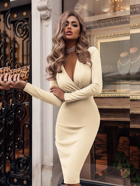 Women's Dress Autumn Winter Casual Solid Color Long Sleeve Elegant Office Lady Dress Sexy Deep V-Neck Bodycon Pencil Party Dress 6