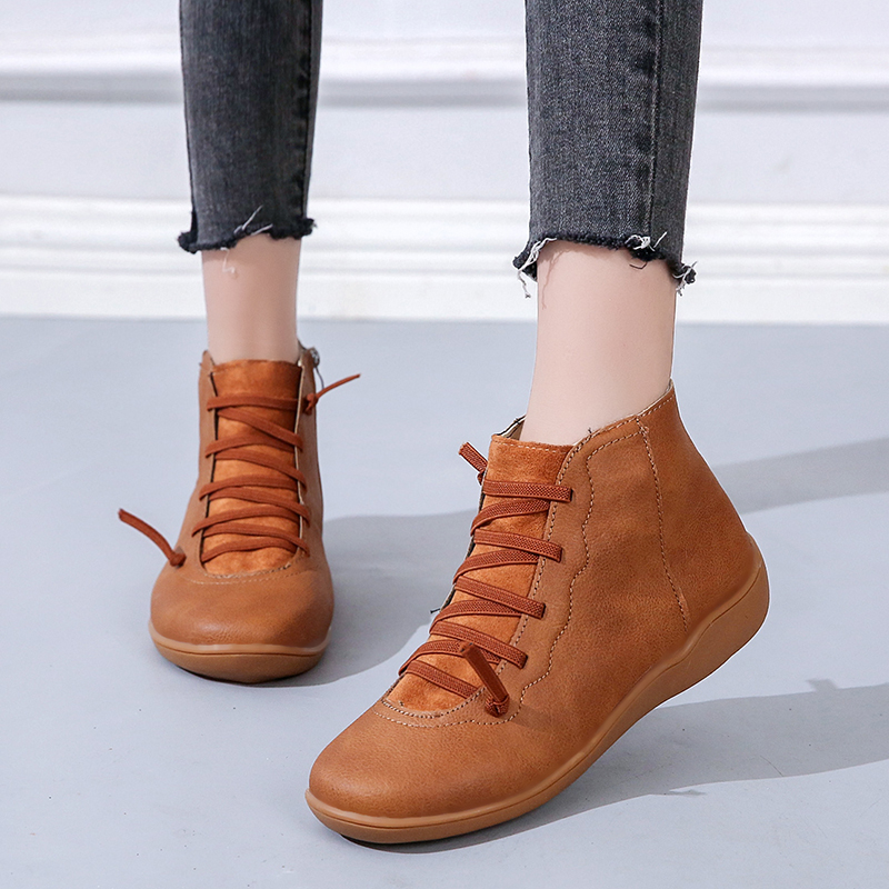 Rimocy Pu Leather Ankle Boots For Women Big Size 35-43 Autumn Winter Cross Strappy Platform Shoes Woman Short Botas Mujer Flats