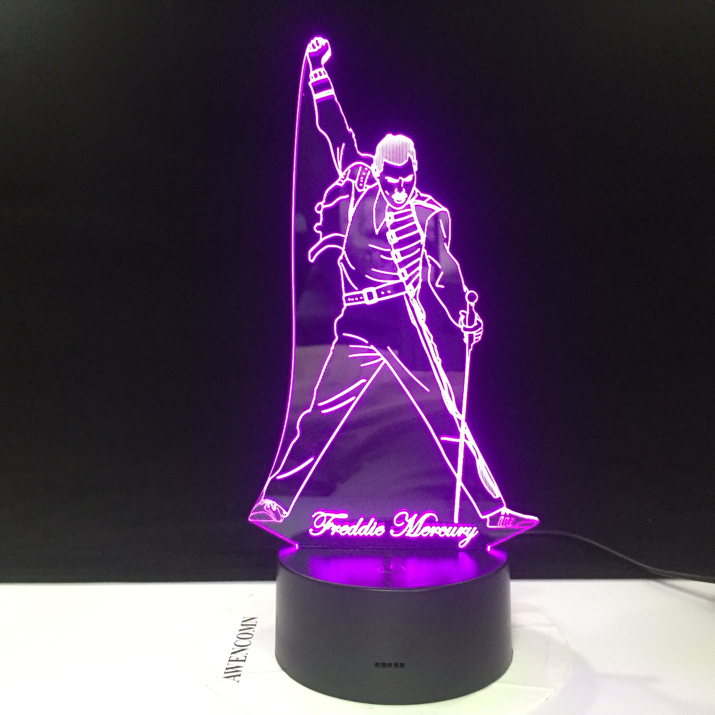 3d Led Night Light Lamp British Singer Freddie Mercury Figure Nightlight For Office Home Decoration Best Fans Gift Dropshipping