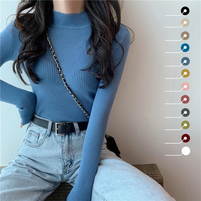 Women Sweaters Autumn Winter Turtleneck Long Sleeve Stretch Blue Knitted Pullovers Fashion Femme Soft Thin Jumper Tops 10 Colors 1