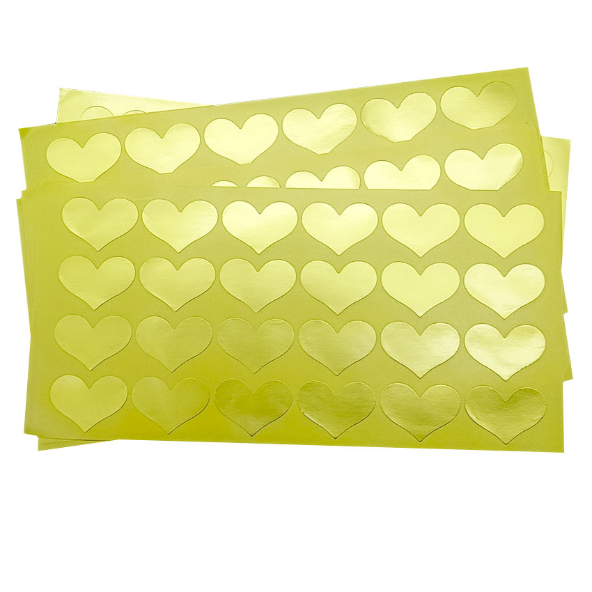 120pcs/lot Gold Heart Paper Self-adhesive Decorative Sealing Sticker DIY  Sticky Package Gifts Label