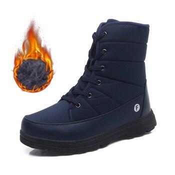 Botas de Moto a prueba de viento para hombre, zapatos para motocicleta cálidos de piel de felpa, térmicos para nieve, para Otoño e Invierno