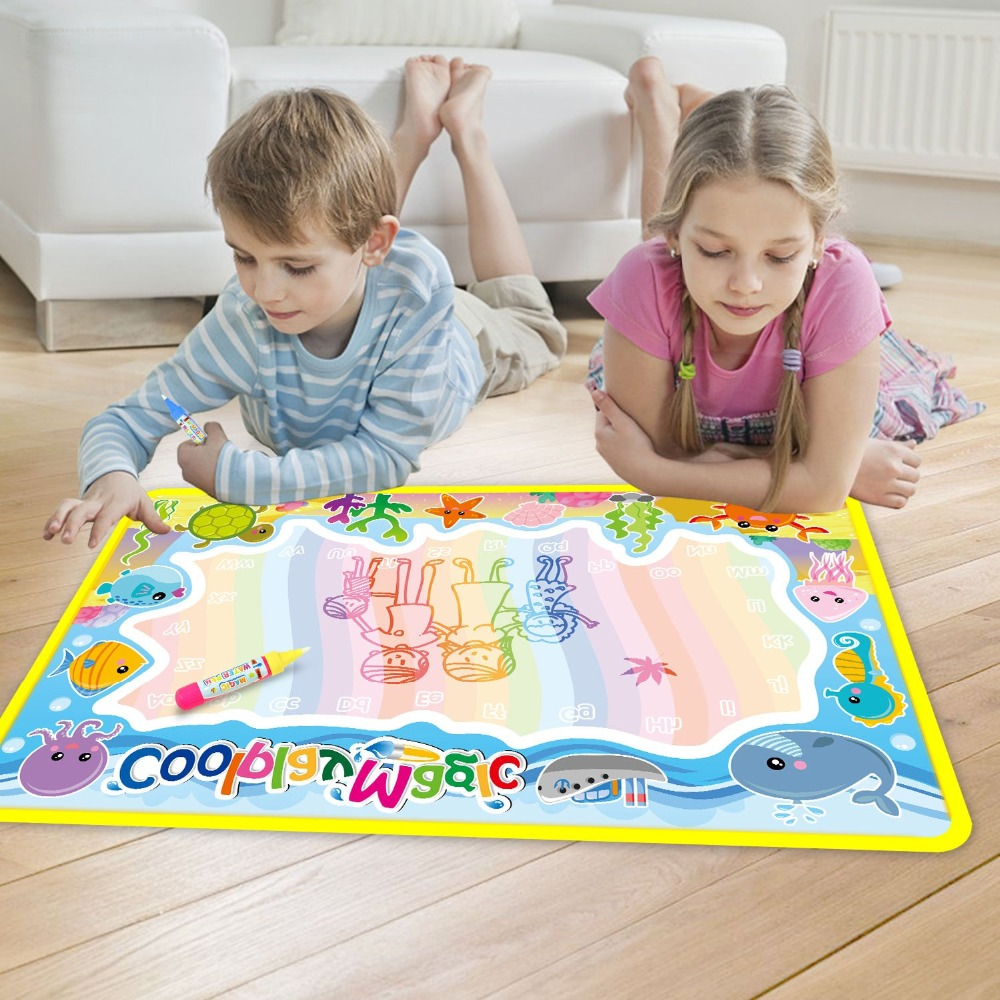 Coolplay 59x36cm Rainbow Water Drawing Mat & 2 Pens Water Doodle Mat Coloring Books Water Painting Rug Xmas Gift For Kids