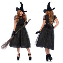 Womens Black Wicked Witch Cosplay Costume Sexy Belted Waist Midi Long Dress with Hat Gloves Halloween Masquerade Party Props