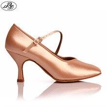 BD Dance Women standardowe buty 138 klasyczne świeże Tan satynowe szpilki damskie buty do tańca towarzyskiego miękka podeszwa taniec nowoczesny
