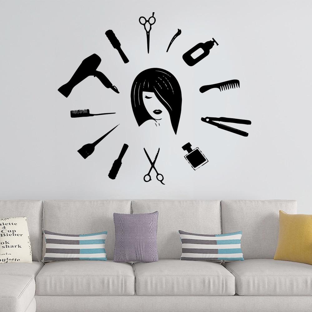 Современная вырезка волос ПВХ настенные художественные наклейки современная мода настенные Стикеры для салона красоты настенные наклейки...
