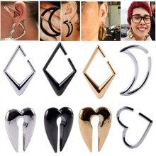 Pair 316L steel Cool Heavy Ear Weight Heart Shape Ear Hoop earring Moon Weights Piercing Ear Taper Piercing Body Jewelry