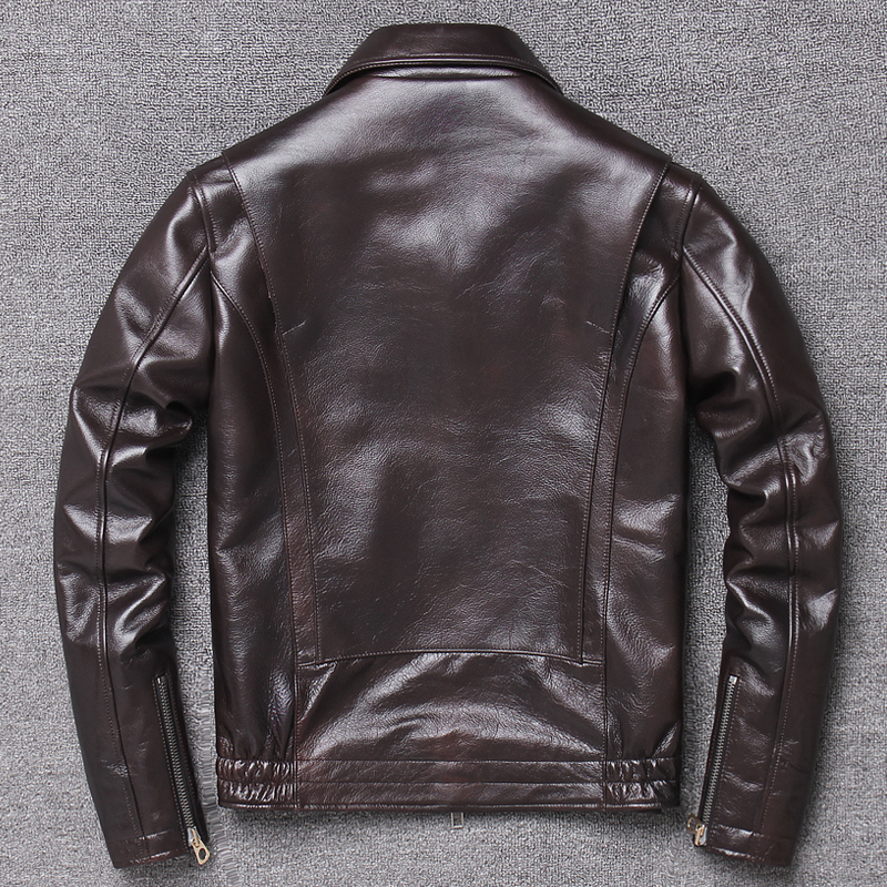 Genuine Men Real Cow Leather Coat Spring Autumn Biker Motorcycle Jacket Chaqueta Cuero Hombre X-1225YL KJ3651