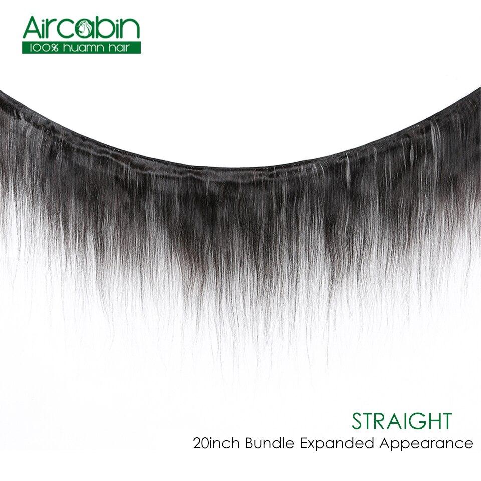 Aircabin Brazilian Straight Hair Bundles With Closure 100% Remy Human Hair Extensions Natural Black