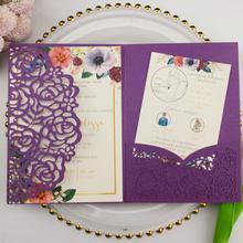 1 образец, лазерная резка, три сложения, белая роза, цветочный карман, складка, свадебные пригласительные карты, пригласите RSVP, заказной конверт