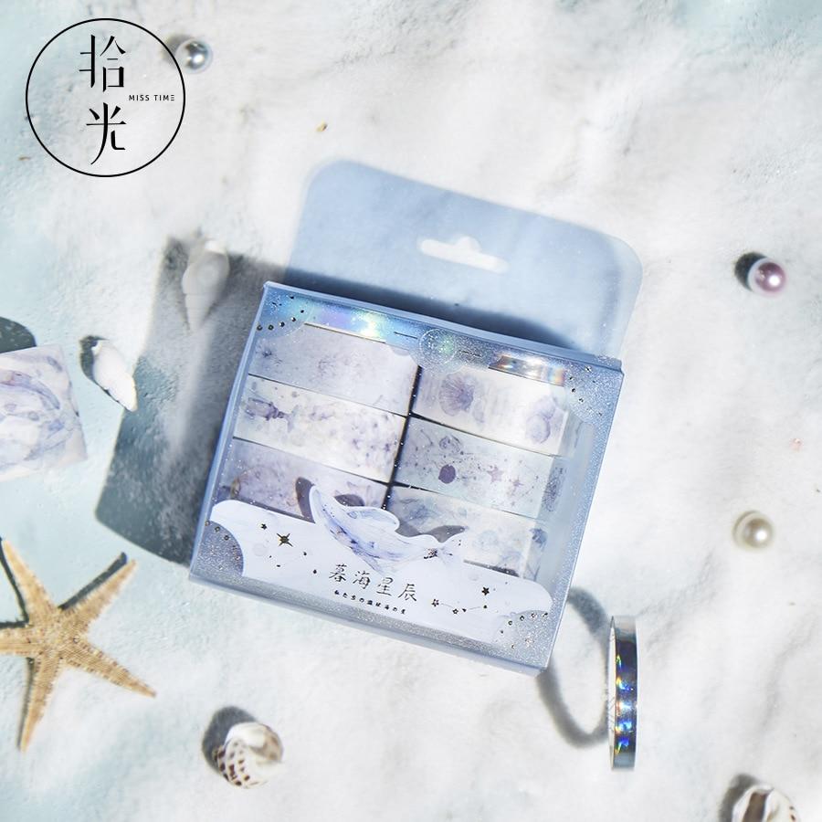 Mohamm 8PCS Moonlight Teenager Series Kawaii Creative Washi Masking Tape Paper Scrapbooking Stationery Decorative Tape