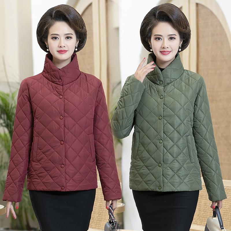 Женские парки, тонкая стеганая куртка, Осень-зима, теплая короткая куртка, новинка, для среднего возраста, женские хлопковые стеганые топы, д...