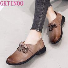 GKTINOO Womens Flats Handmade Shoes 2019 Spring Autumn Genuine Leather Ladies Shoe Flat Shoes Women Leather Retro Shoe
