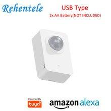 Alexa supportato Tuya alimentato WIFI USB PIR sensore di movimento rilevatore APP notifiche di avviso con 2x batteria AA (non inclusa)