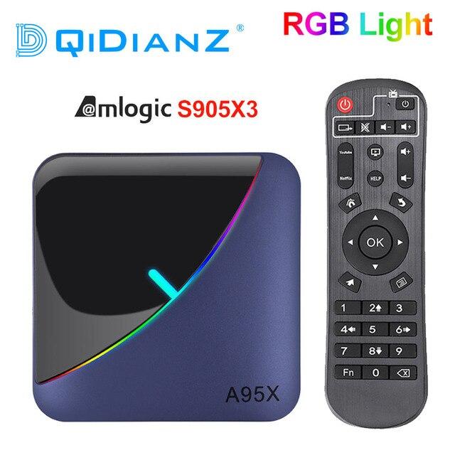 A95X F3 RGB אור טלוויזיה תיבת Amlogic S905X3 אנדרואיד 9.0 4GB 64GB תמיכה כפולה Wifi 8K 60fps plex Media שרת A95XF3 סט Top Box