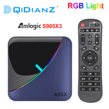 A95X F3 rgb ライトテレビボックス amlogic S905X3 アンドロイド 9.0 4 ギガバイト 64 ギガバイトのサポートデュアル無線 lan 8 18k 60fps plex メディアサーバー A95XF3 セットトップボックス