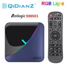 A95X F3 rvb boîte de télévision légère Amlogic S905X3 Android 9.0 4GB 64GB Support double Wifi 8K 60fps Plex serveur multimédia A95XF3 décodeur