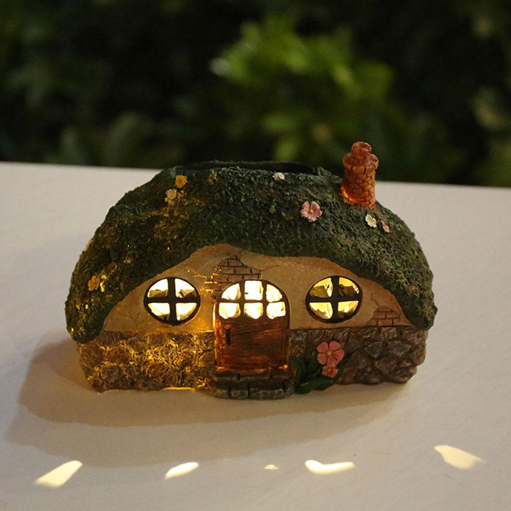 Fairy House LED Solar Light Outdoor Waterproof Garden Lawn Lamp Anti corrosion Resin Pathway Decoration Light Control Induction|Solar Lamps| |  - title=