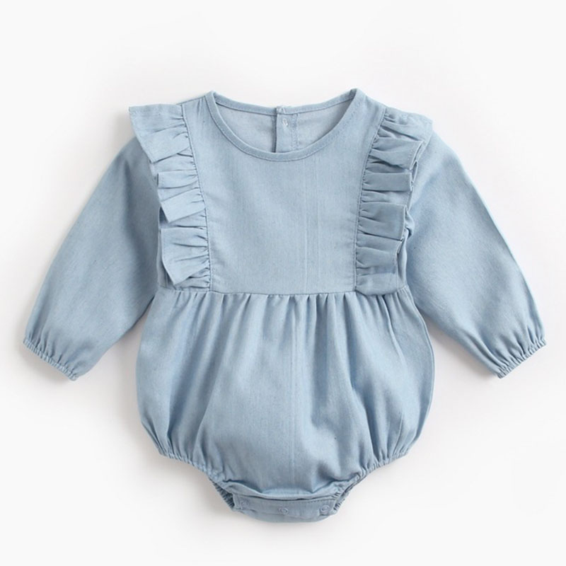 Infants Cowboy Rompers Baby Bodysuit Long Sleeve Cute Pure Color Romper New 2019 Autumn Winter Girls Baby Girl Clothes Jumpsuit