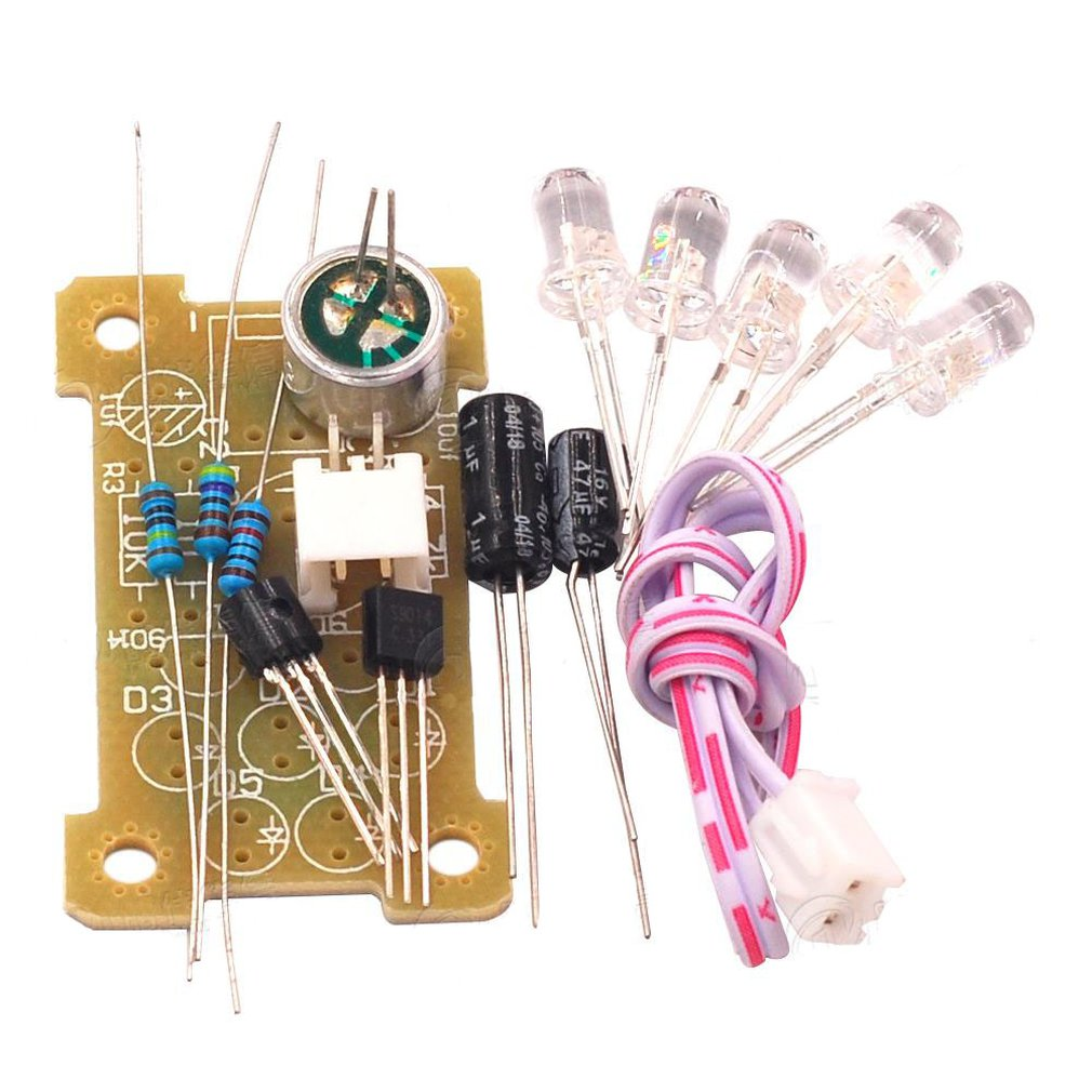 Voice Control 5Mm Green Led Melody Light Electronic Production Kit Diy Fun Production Parts Module Kit