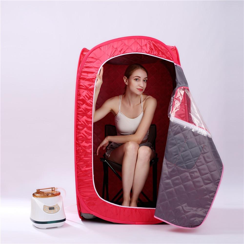 Caja de ba/ño para sauna Port/átil Sauna de Vapor SPA Cabina para sauna 2L Para Aliviar Dolores Musculares Cara del cuerpo adelgazante Blanc Control remoto Temperatura Reducir El Estr/és