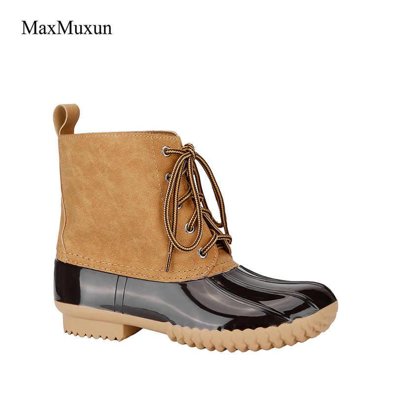 MaxMuxun Snow Boots Women Winter Lacing