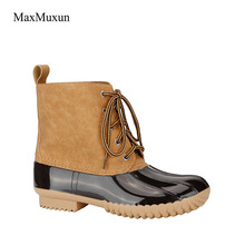 MaxMuxun Snow Boots Women Winter Lacing PU Stitching Rubber Ankle Rain Boots Casual Booties Waterproof Slip On Chunky Footwear
