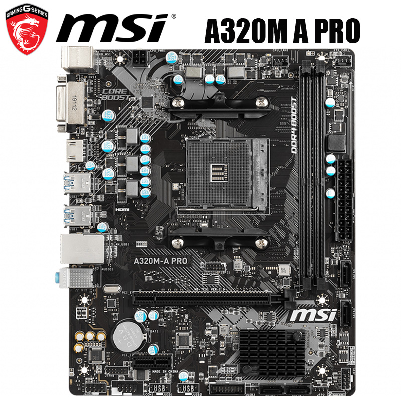 NEW MSI A320M A PRO Motherboard Socket AM4 32GB ddr4 AMD Ryzen AMD A320 PCI E 3.0 Desktop MSI B320 Mainboard AM4 DDR4 HDMI AM4|Motherboards| - AliExpress