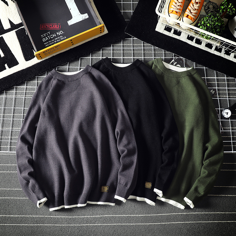 Winter Sweater Men's Warm Fashion Solid Color Casual Knit Pullover Man Wild Loose Long-sleeved Sweater Men Large Size M-5XL