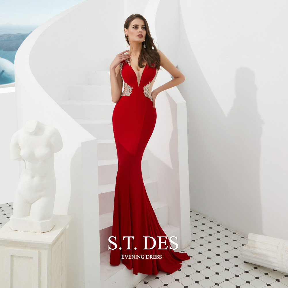 2020 S.T.DES Sexy Red V-Neck Crystal Beaded Sheer Neck Cutaway Sides Prom <font><b>Dress</b></font> Illusion Back Sweep Train <font><b>Mermaid</b></font> Evening <font><b>Dress</b></font> image