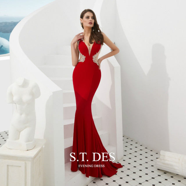 Formal dress 2020 Summer S.T.DES Hot Sexy Illusion Red V Neck Crystal Beaded Sheer Cutaway Sides Long Mermaid Evening Dress